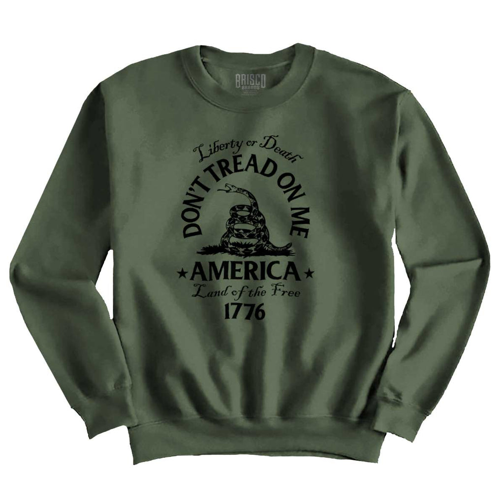 MilitaryGreen|Dont Tread on Me Crewneck Sweatshirt|Tactical Tees