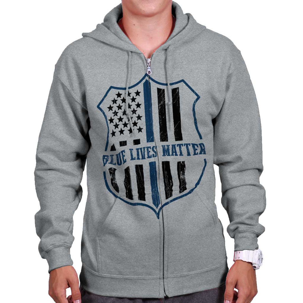 SportGrey|Blue Lives Matter Flag Zip Hoodie|Tactical Tees