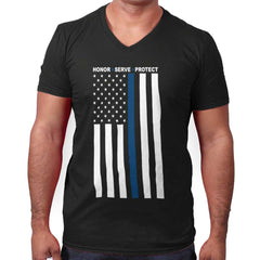Black|Blue Lives Matter Vertical V-Neck T-Shirt|Tactical Tees