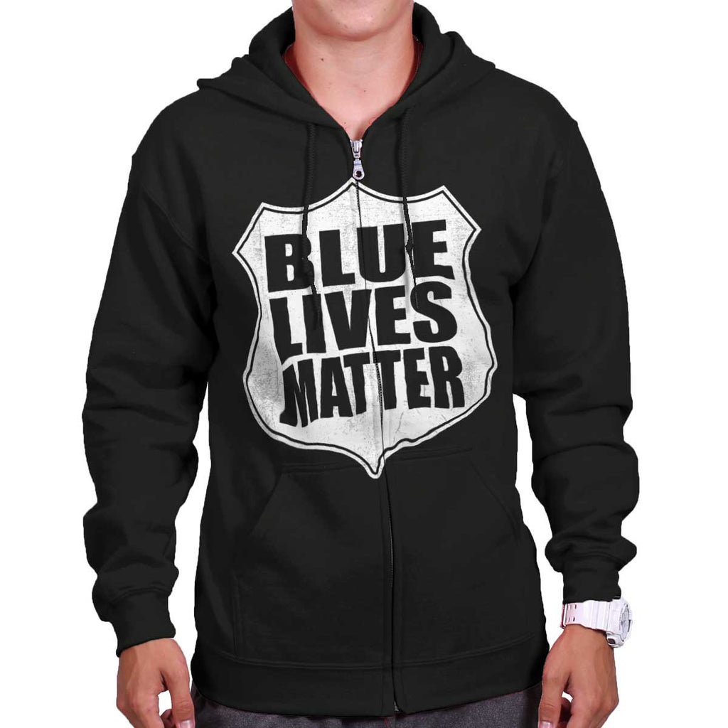 Black|Blue Lives Matter Shield Zip Hoodie|Tactical Tees