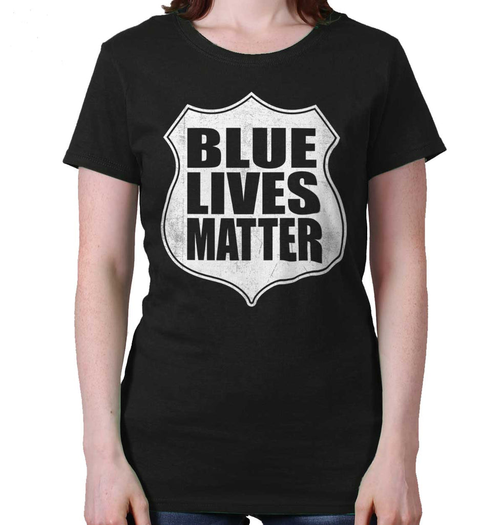 Black|Blue Lives Matter Shield Ladies T-Shirt|Tactical Tees