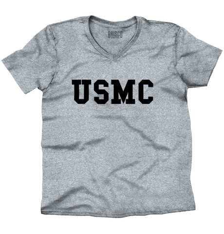 SportGrey|USMC Logo V-Neck T-Shirt|Tactical Tees