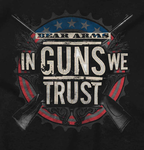 Black2|In Guns We Trust Junior Fit V-Neck T-Shirt|Tactical Tees