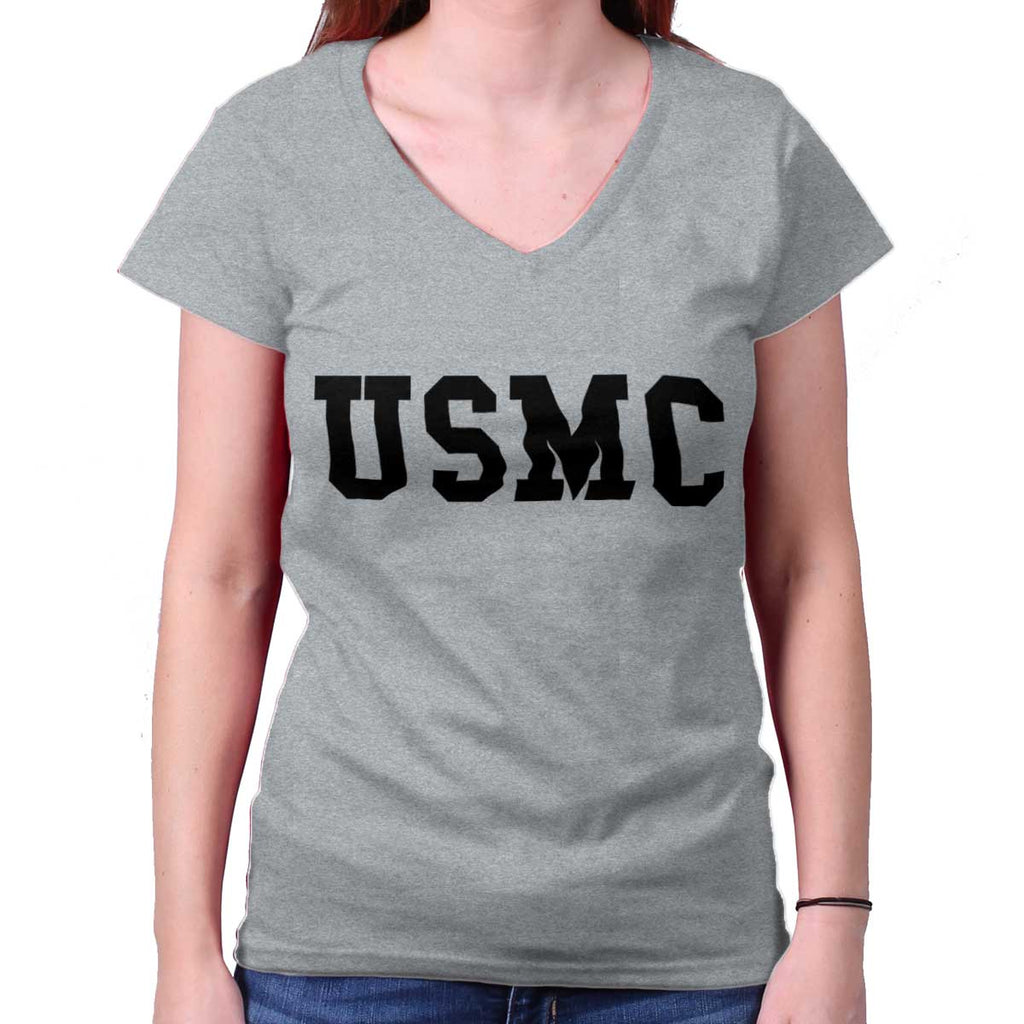 SportGrey|USMC Logo Junior Fitted V-Neck T-Shirt|Tactical Tees