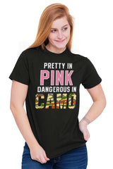 Female_Black1|Pretty in Pink Dangerous in Camo T-Shirt|Tactical Tees