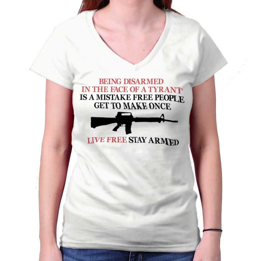 White|Live Free Stay Armed Junior Fit V-Neck T-Shirt|Tactical Tees