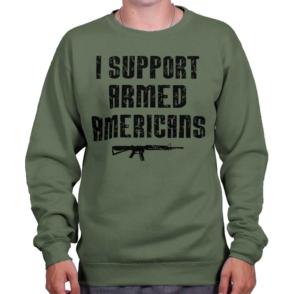 MilitaryGreen|Support Armed Americans Crewneck Sweatshirt|Tactical Tees