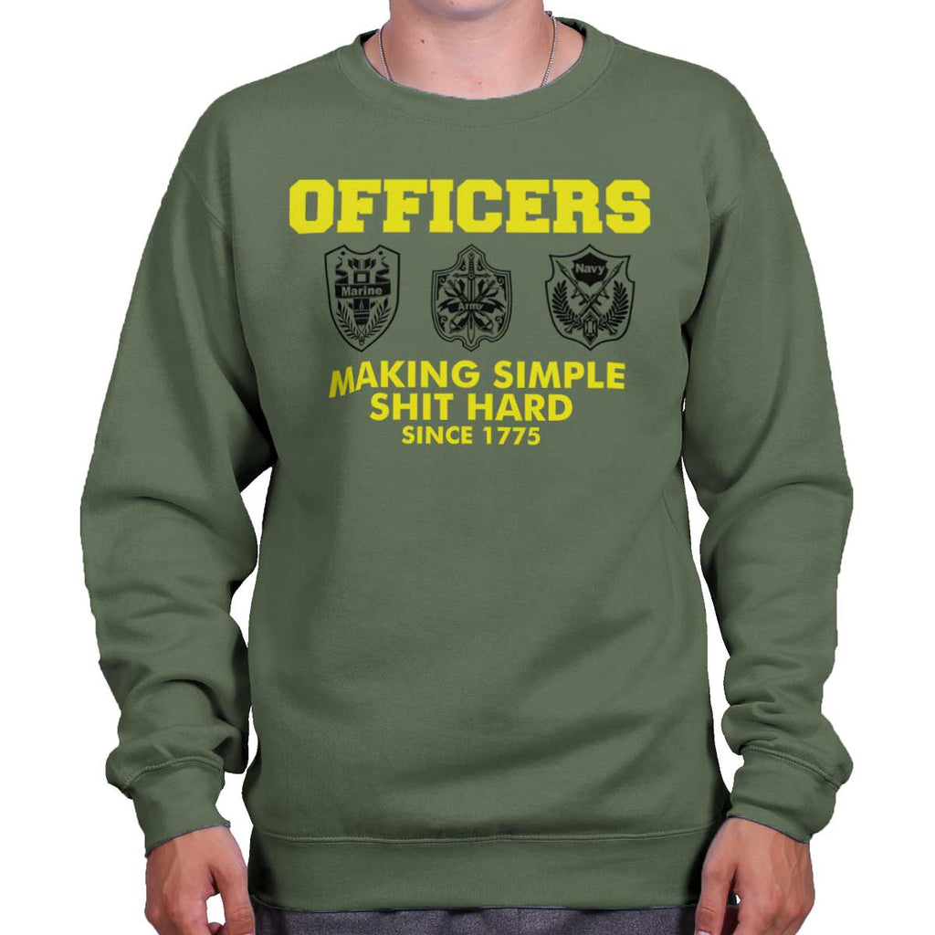 MilitaryGreen|Officers Crewneck Sweatshirt|Tactical Tees