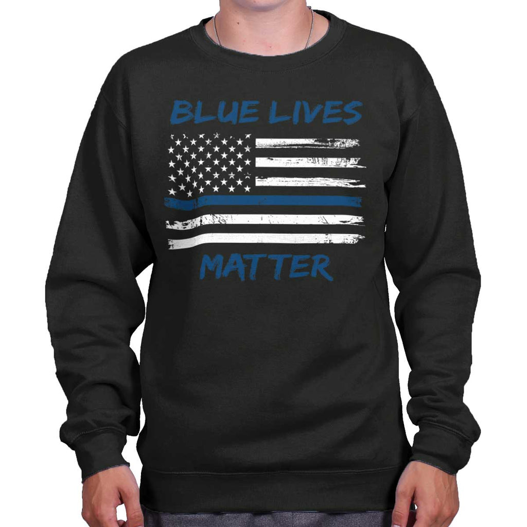 Black|Blue Lives Matter Horizontal Crewneck Sweatshirt|Tactical Tees