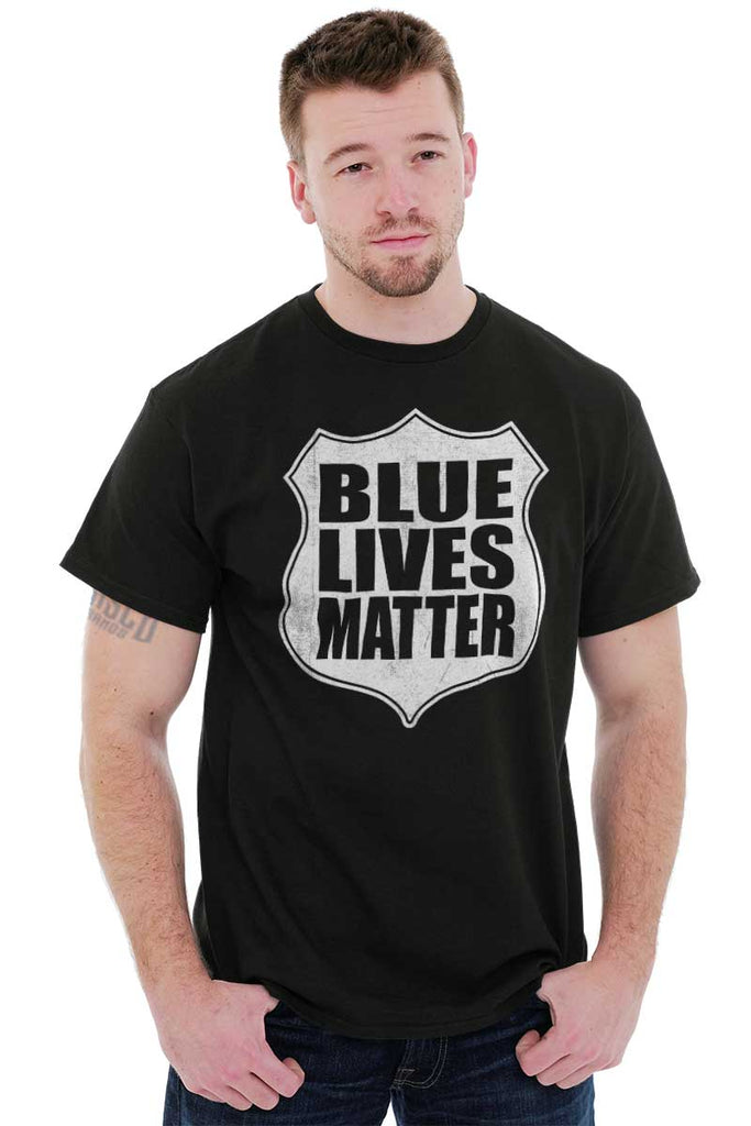 Male_Black1|Blue Lives Matter Shield T-Shirt|Tactical Tees