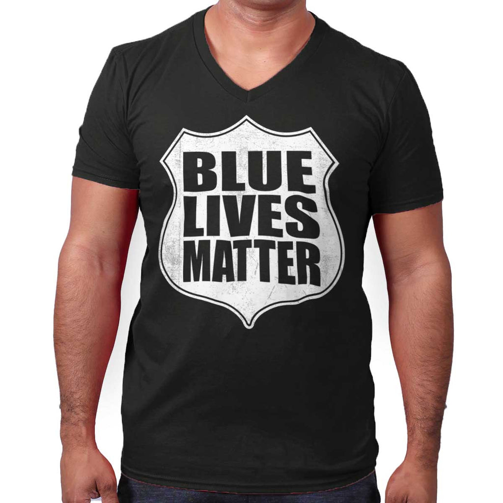 Black|Blue Lives Matter Shield V-Neck T-Shirt|Tactical Tees
