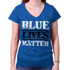 Royal|Blue Lives Matter Bold Junior Fit V-Neck T-Shirt|Tactical Tees