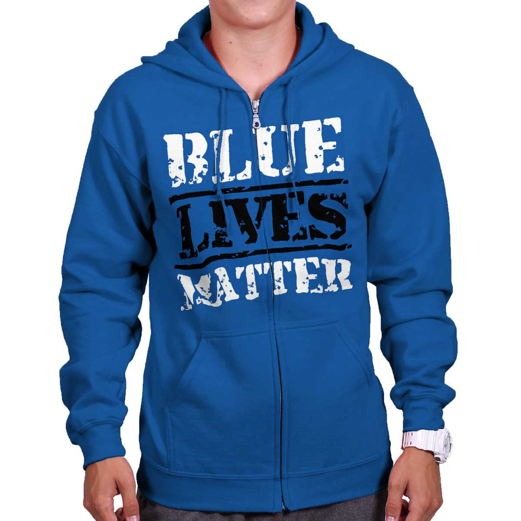 Royal|Blue Lives Matter Bold Zip Hoodie|Tactical Tees