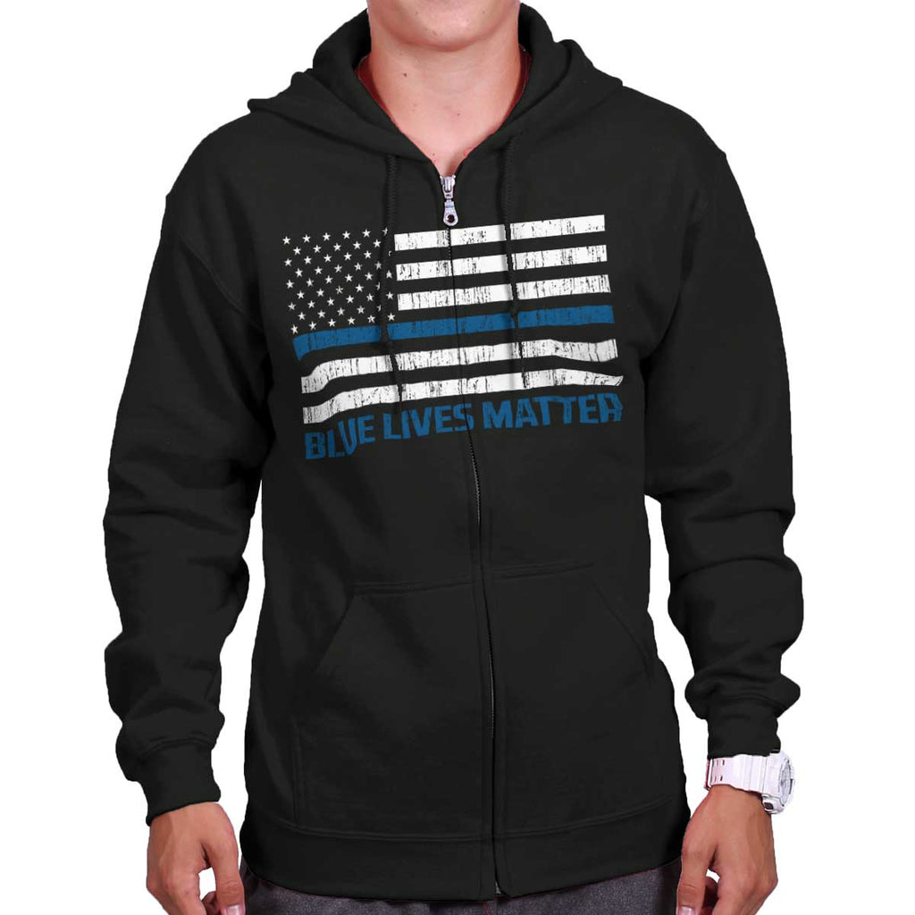 Black|Blue Lives Matter Flag Zip Hoodie|Tactical Tees