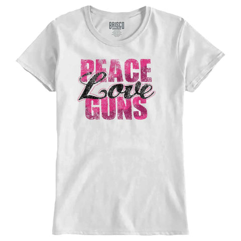White|Peace Love Guns Ladies T-Shirt|Tactical Tees
