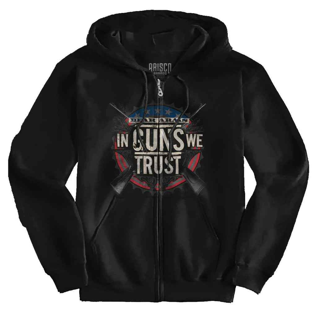 Black|In Guns We Trust Zip Hoodie|Tactical Tees