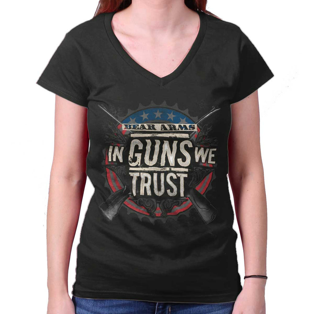 Black|In Guns We Trust Junior Fit V-Neck T-Shirt|Tactical Tees