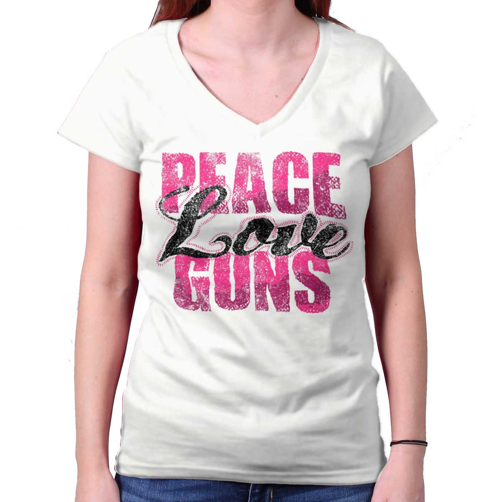 White|Peace Love Guns Junior Fit V-Neck T-Shirt|Tactical Tees