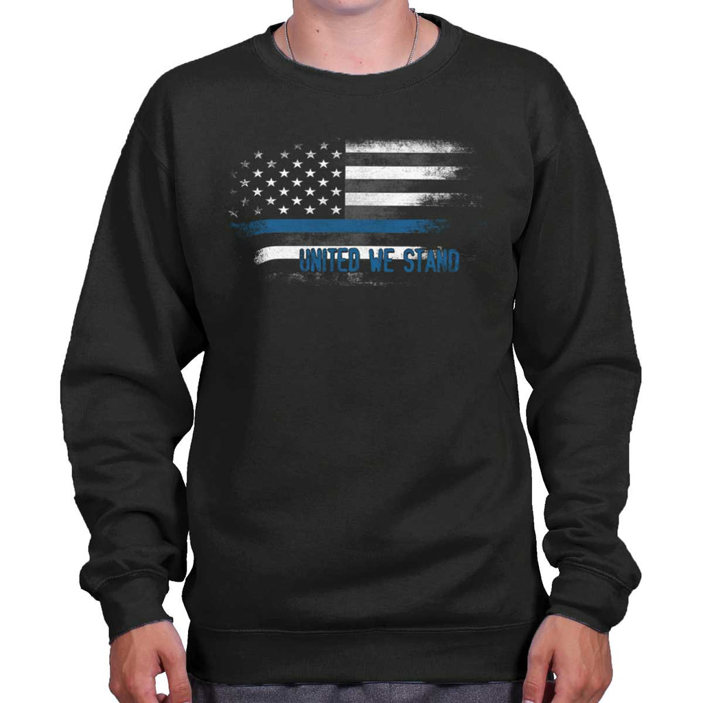 Black|Blue Lives Matter Fade Crewneck Sweatshirt|Tactical Tees