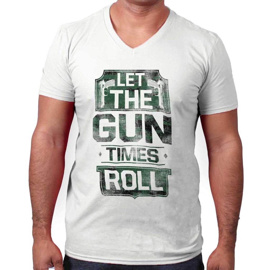 White|Let The Gun Times Roll V-Neck T-Shirt|Tactical Tees