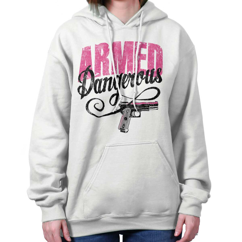 White|Armed & Dangerous Hoodie|Tactical Tees