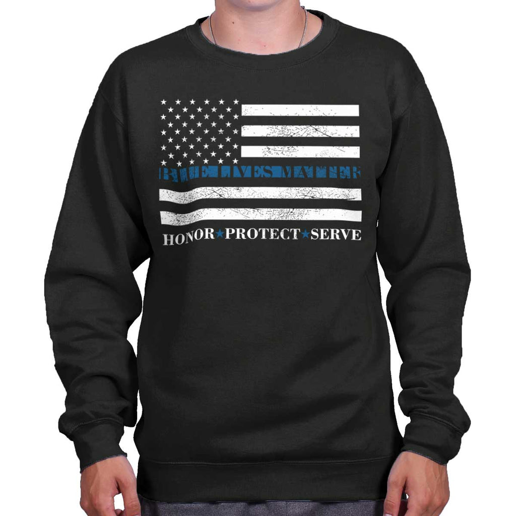 Black|Blue Lives Matter Honor Crewneck Sweatshirt|Tactical Tees