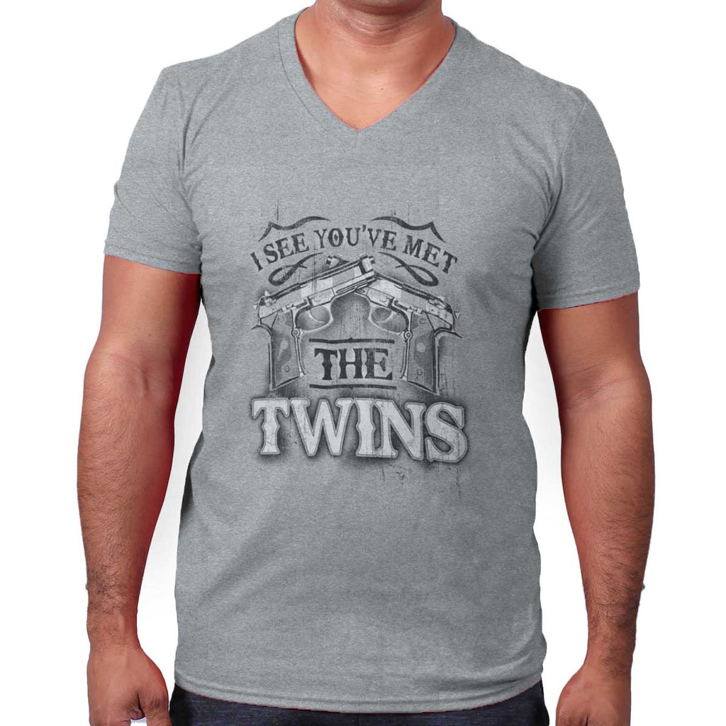SportGrey|I See Youve Met The Twins V-Neck T-Shirt|Tactical Tees
