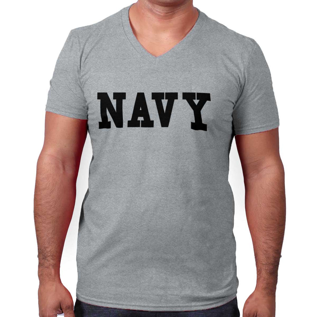 SportGrey|Navy Logo V-Neck T-Shirt|Tactical Tees