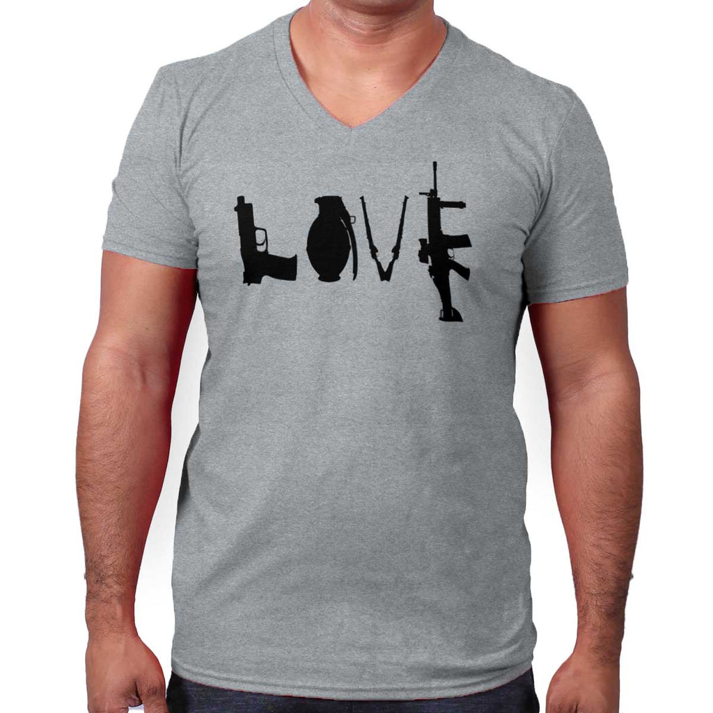 SportGrey|Gun Love V-Neck T-Shirt|Tactical Tees
