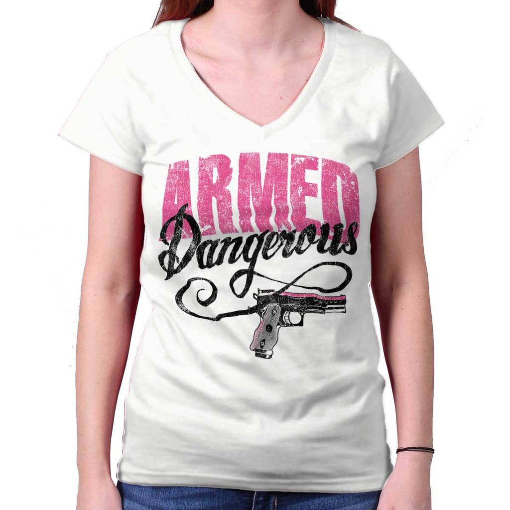 White|Armed & Dangerous Junior Fit V-Neck T-Shirt|Tactical Tees