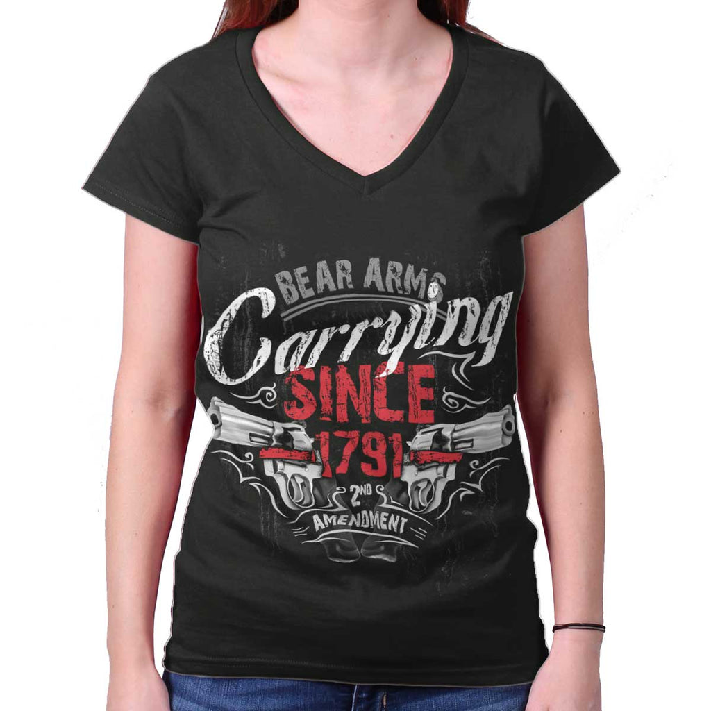 Black|Carrying Since Junior Fit V-Neck T-Shirt|Tactical Tees