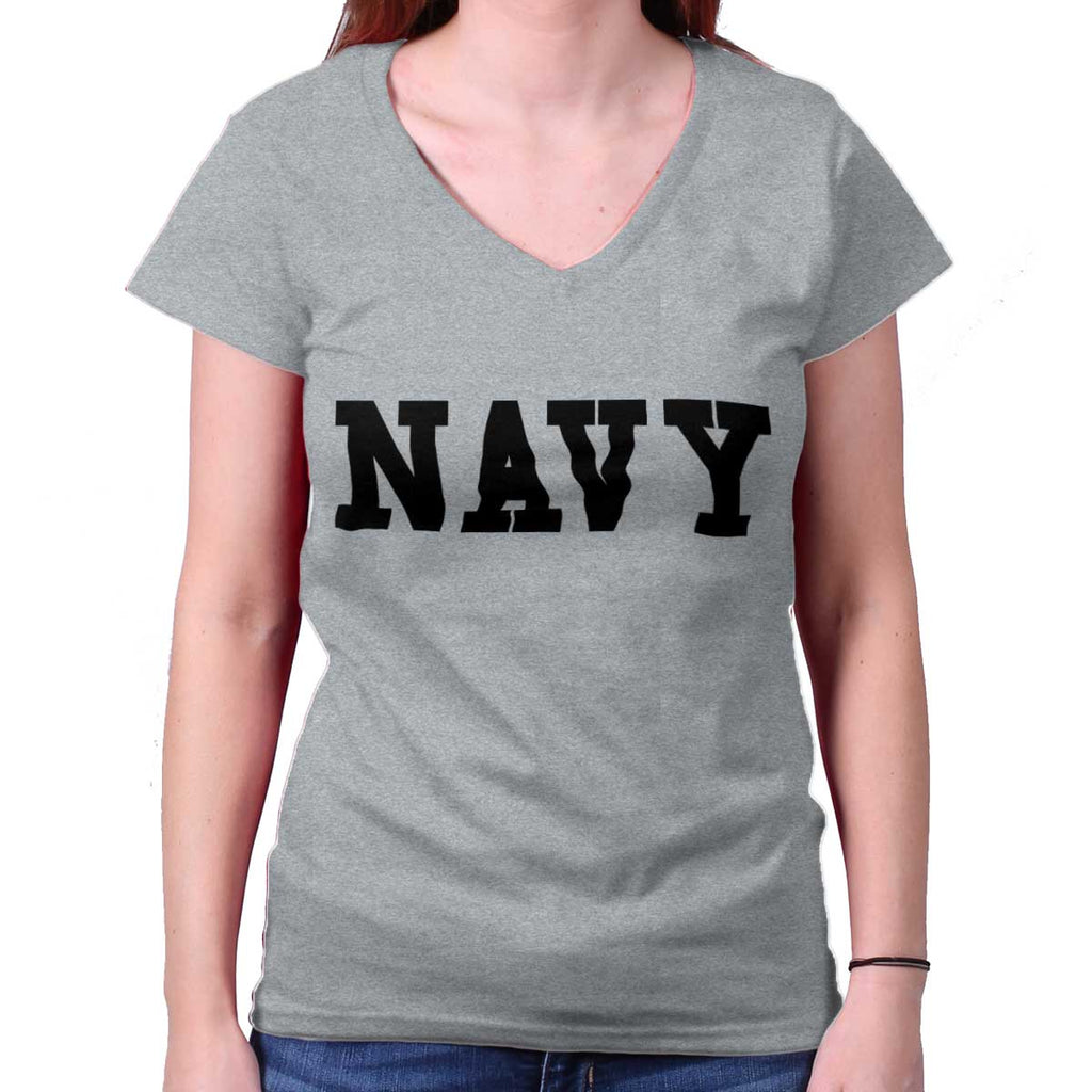 SportGrey|Navy Logo Junior Fitted V-Neck T-Shirt|Tactical Tees