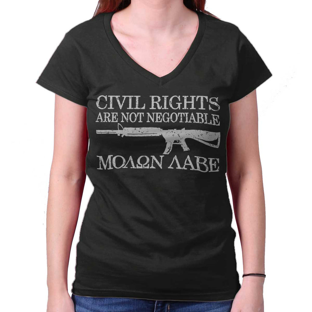 Black|Civil Rights Junior Fit V-Neck T-Shirt|Tactical Tees