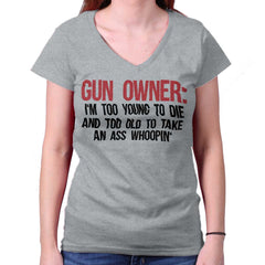 SportGrey|Gun Owner Too Young Junior Fit V-Neck T-Shirt|Tactical Tees