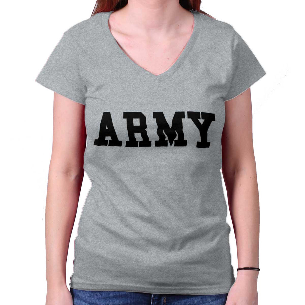 SportGrey|Army Logo Junior Fitted V-Neck T-Shirt|Tactical Tees