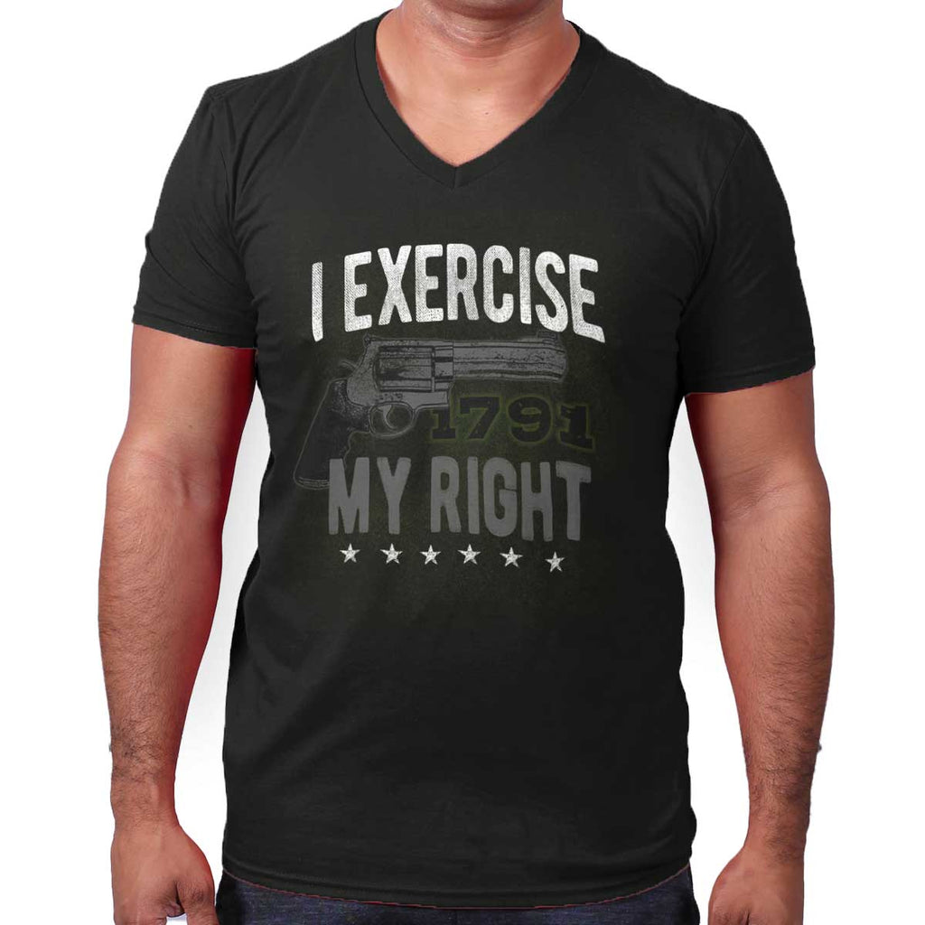 Black|I exercise My Right V-Neck T-Shirt|Tactical Tees