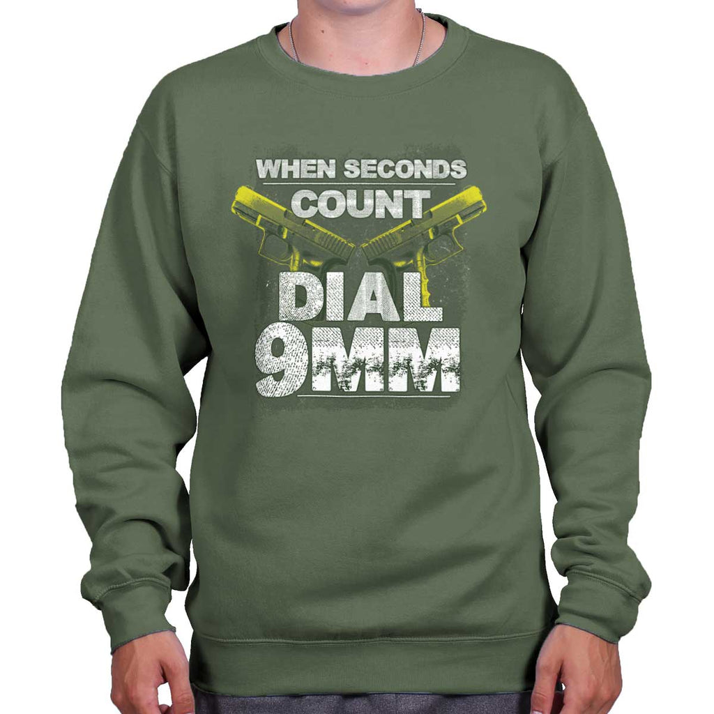 MilitaryGreen|Dial 9mm Crewneck Sweatshirt|Tactical Tees