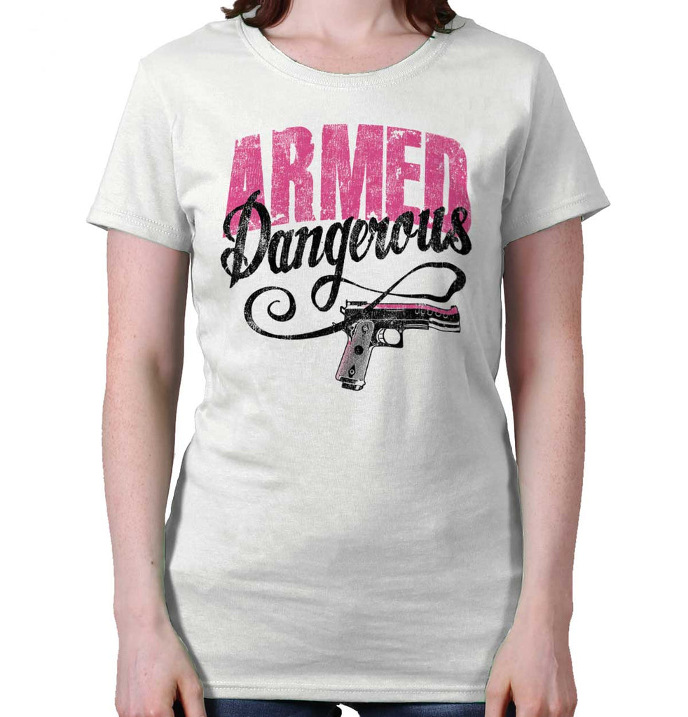 White|Armed & Dangerous Ladies T-Shirt|Tactical Tees