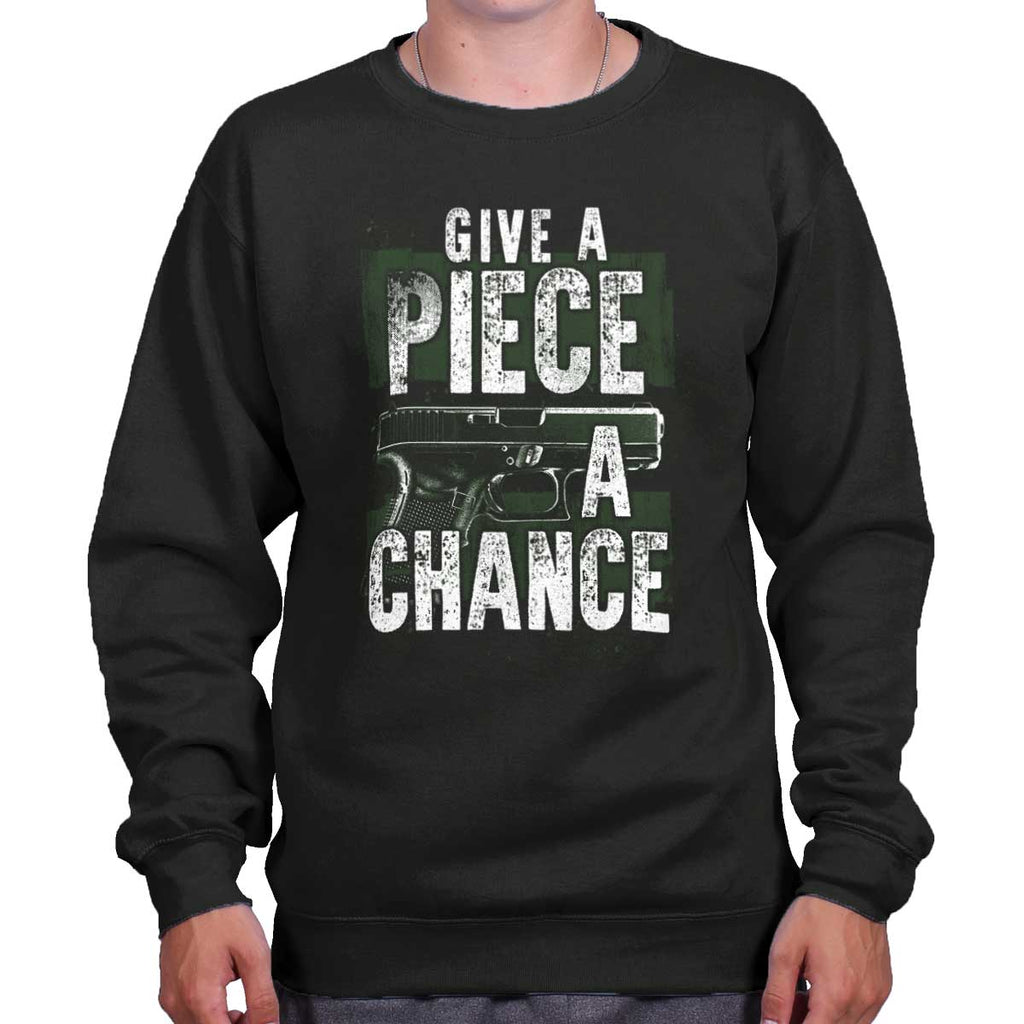 Black|Give Piece a Chance Crewneck Sweatshirt|Tactical Tees