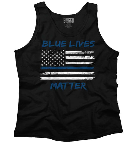 Black|Blue Lives Matter Horizontal Tank Top|Tactical Tees