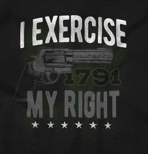 Black2|I exercise My Right Junior Fit V-Neck T-Shirt|Tactical Tees