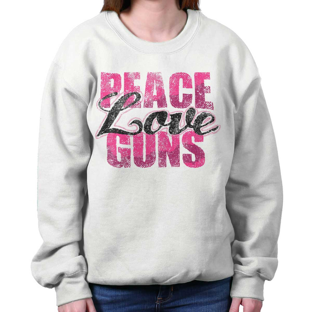 White|Peace Love Guns Crewneck Sweatshirt|Tactical Tees
