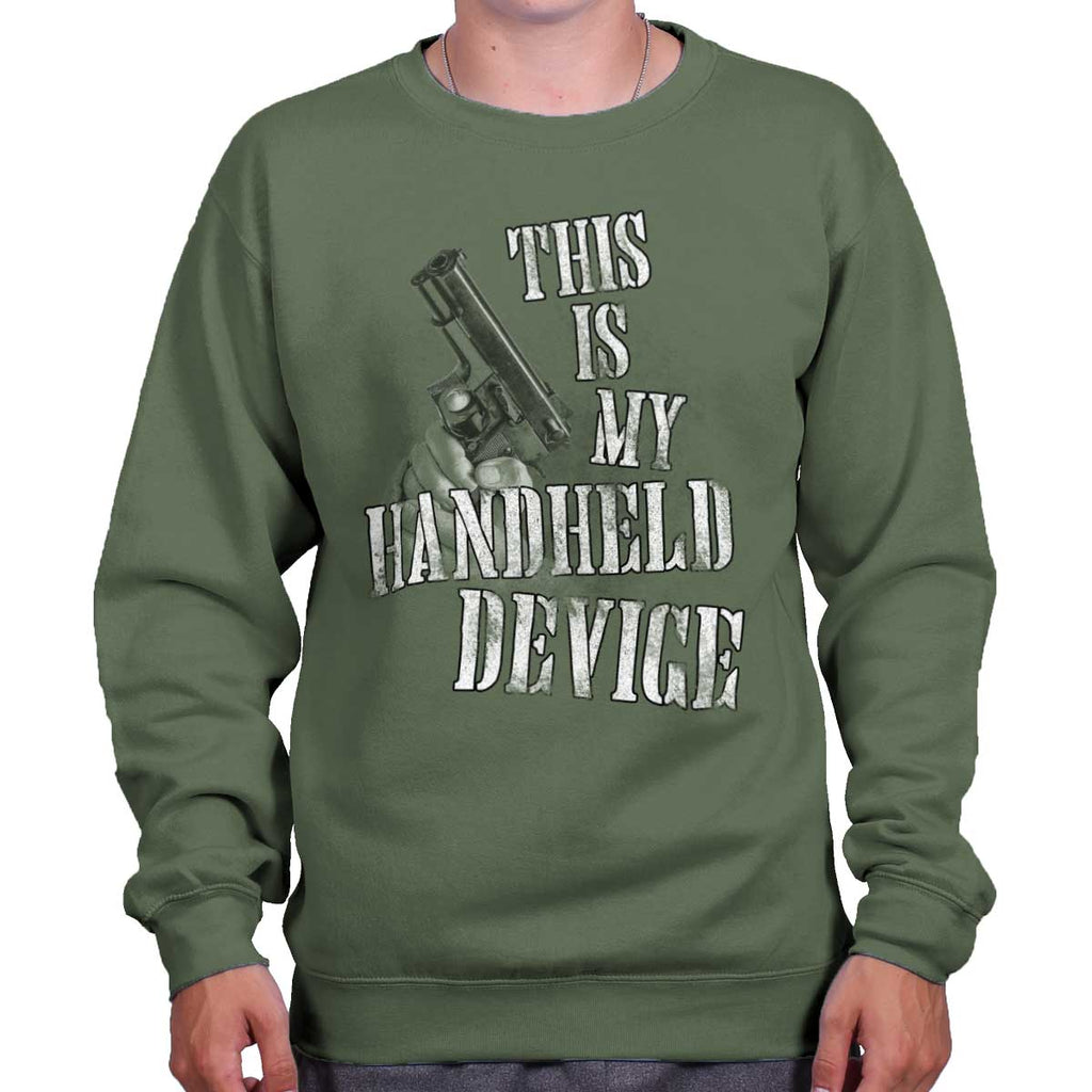 MilitaryGreen|Handheld Device Crewneck Sweatshirt|Tactical Tees