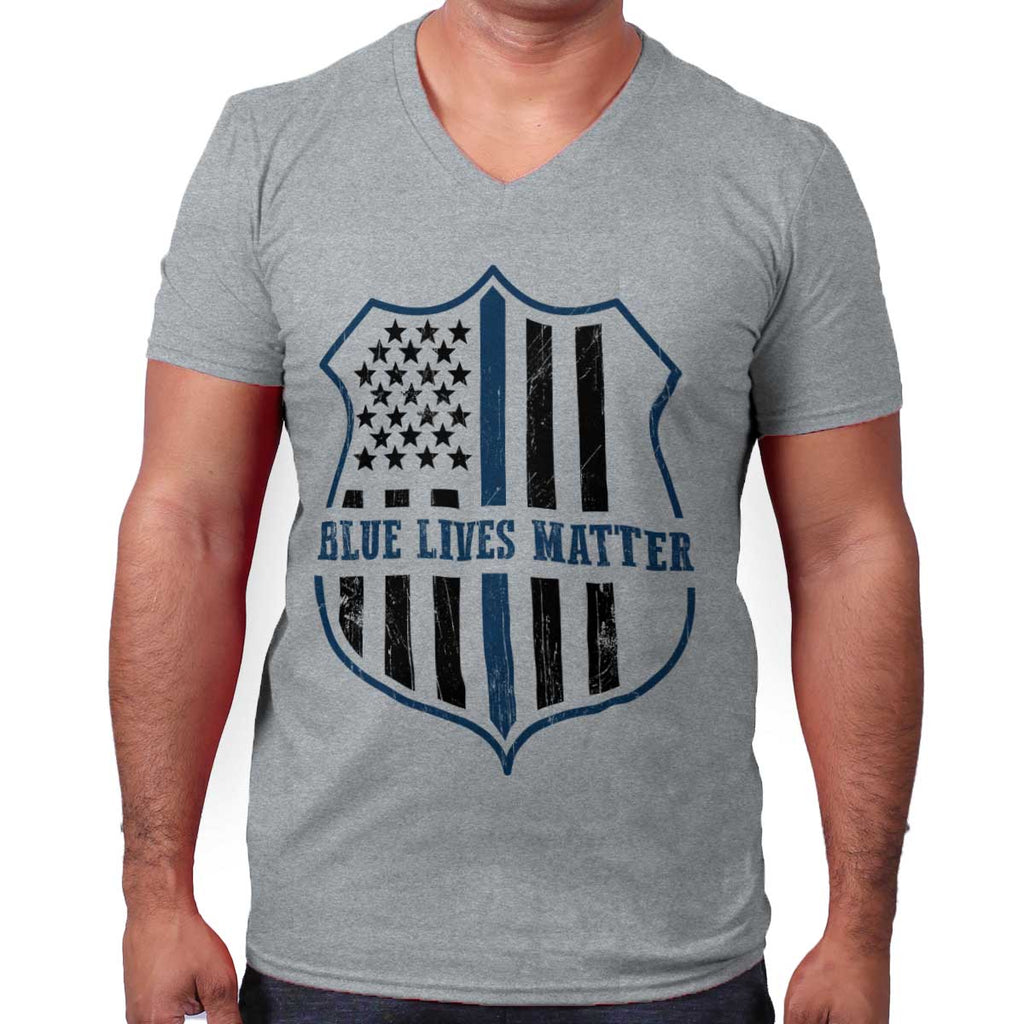 SportGrey|Blue Lives Matter Flag V-Neck T-Shirt|Tactical Tees