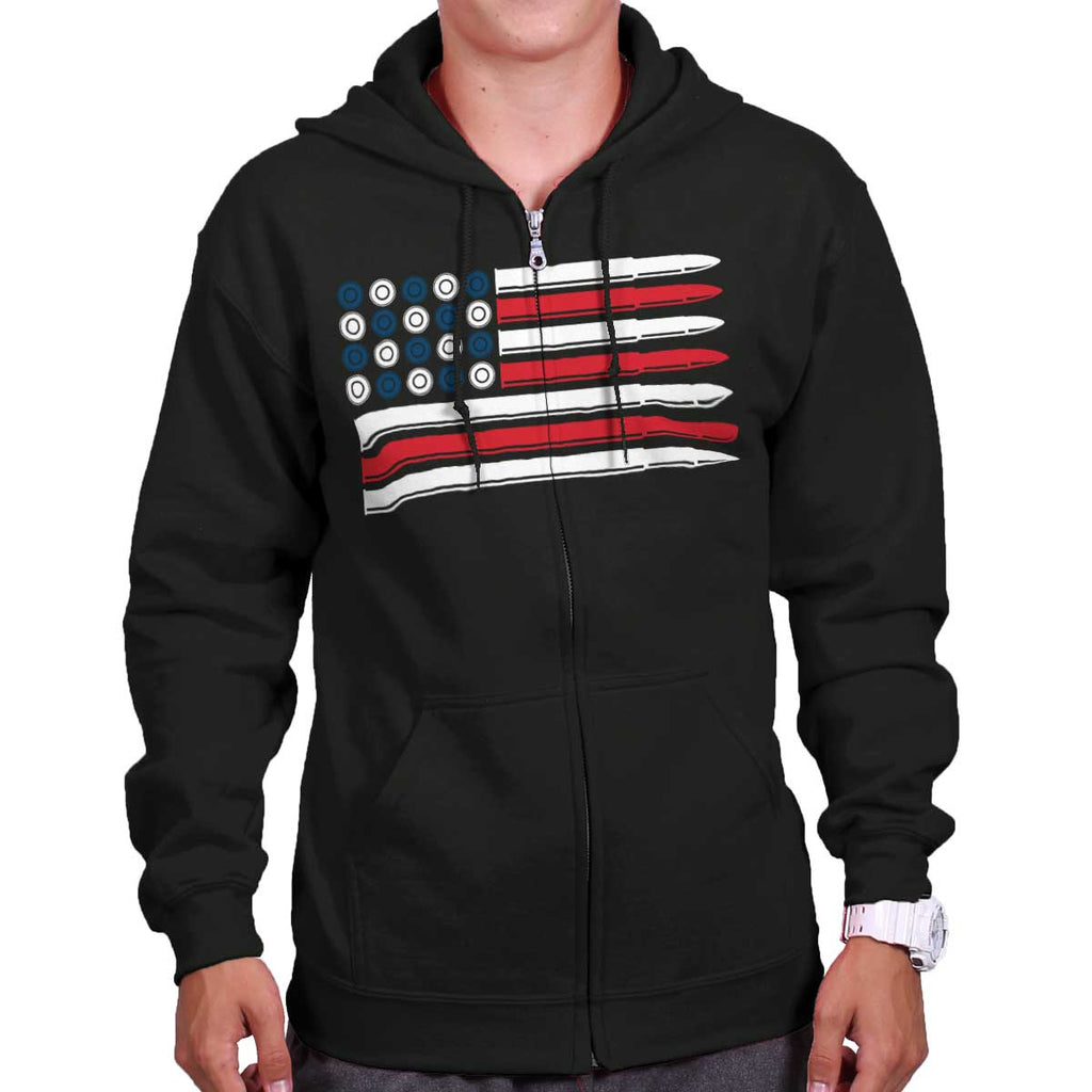 Black|Bullet Flag Zip Hoodie|Tactical Tees