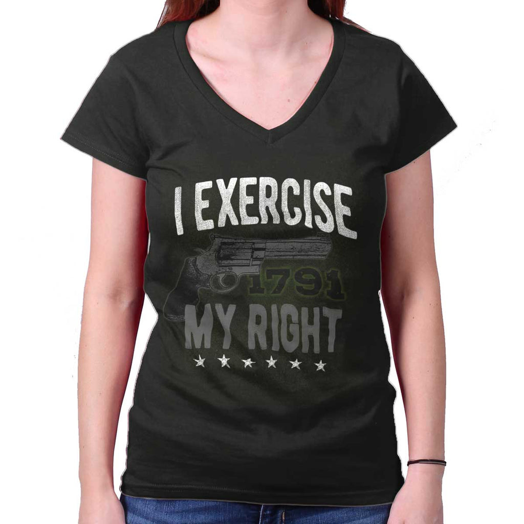 Black|I exercise My Right Junior Fit V-Neck T-Shirt|Tactical Tees