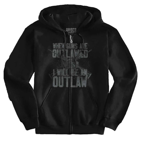 Black|Outlaw Zip Hoodie|Tactical Tees