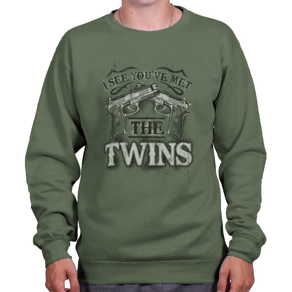 MilitaryGreen|I See Youve Met The Twins Crewneck Sweatshirt|Tactical Tees