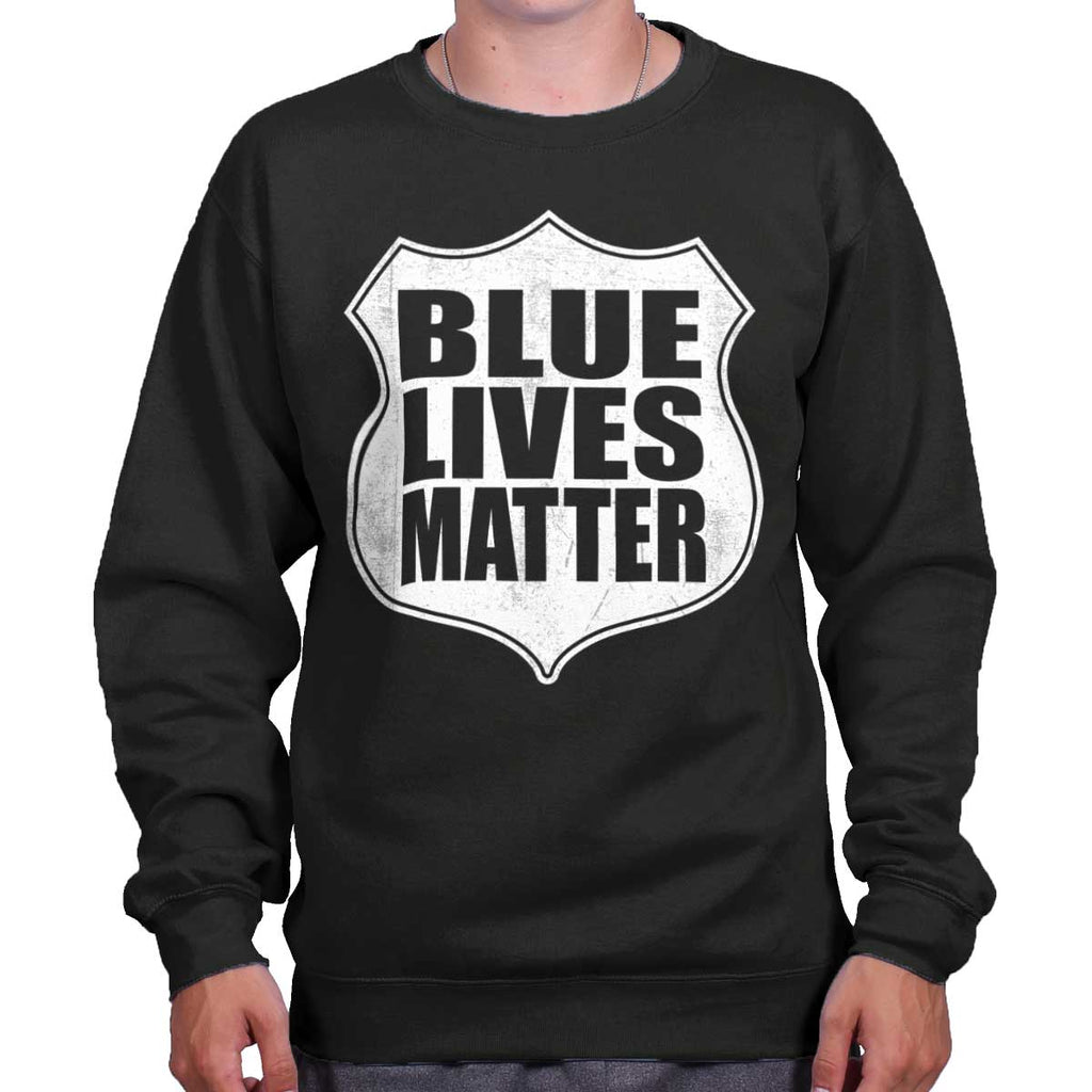 Black|Blue Lives Matter Shield Crewneck Sweatshirt|Tactical Tees