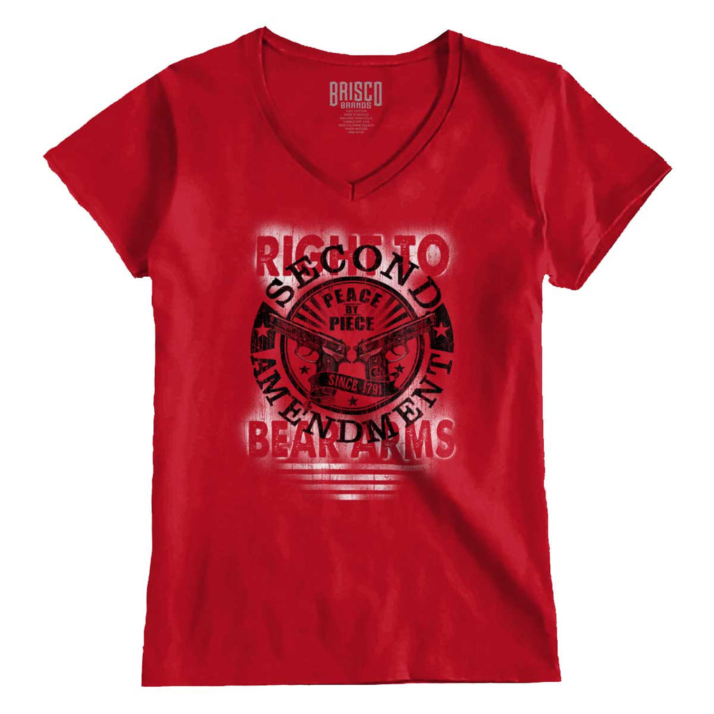 CherryRed|Right To Bear Arms  AMaledMalet Junior Fit V-Neck T-Shirt|Tactical Tees